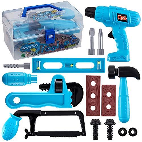 HERSITY Kinder Werkzeug Set Werkzeugkasten Handwerker Spiel Werkzeugkoffer mit Bohrmaschine Tool Schrauben Spielzeug Geschenk für Kleinkinder Jungen Mädchen