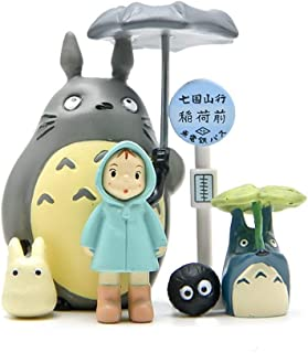 6 Pcs Totoro Figurine Set, Miniature Home Fairy Garden Micro Totoro Bus Station Landscape Ornament Decorations – Figures for Crafts and Home Decor