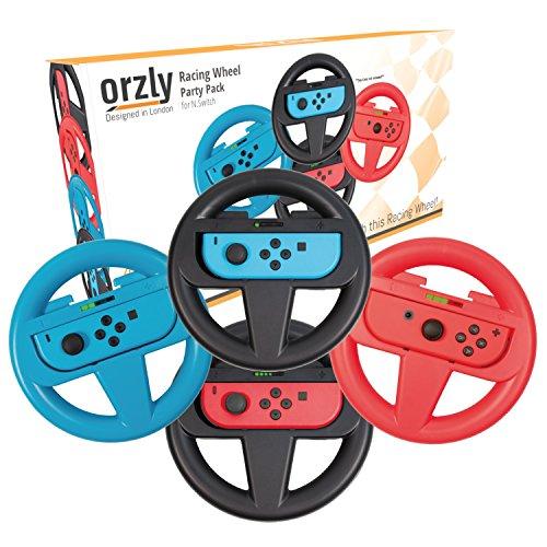 Volante Orzly CONFEZIONE QUATTRO per Nintendo Switch – Confezione di Accessori Steering Wheels Set per Mariokart (4 Volanti - 2 NERI, 1 BLU, 1 ROSSO) [Console e Joy-Con non incluso]