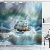 "Ambesonne Ocean Shower Curtain, Majestic Nautical Sealife and Pirate Boat Ship on a Wavy Deep Sea Art Print, Cloth Fabric Bathroom Decor Set with Hooks, 70"" Long, Blue Grey"