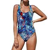 DAIYO Bikini Mujeres Bloque de Color Traje de baño Dew Back Impresión Una Pieza Traje de baño