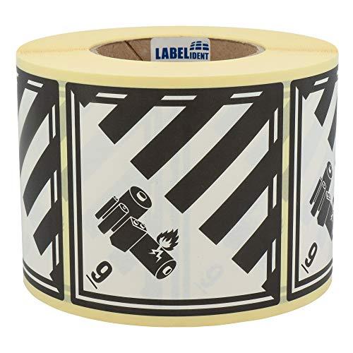 Labelident Gefahrgutaufkleber 100 x 100 mm - Klasse 9A - Lithium-Batterien - 1000 Gefahrgutetiketten auf 1 Rolle(n), 3 Zoll Kern, Papier weiß/schwarz, selbstklebend