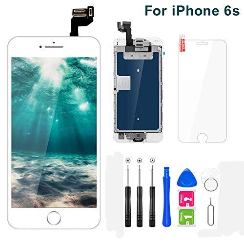 FLYLINKTECH Pantalla para iPhone 6s 4.7 '',Táctil LCD de Repuesto Ensamblaje de Marco Digitalizador con botón de Inicio,cámara Frontal,Sensor de proximidad,Altavoz y Herramientas (Blanco)