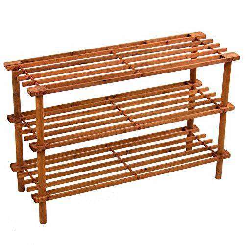 Prima HOUSEWARES - Zapatero de madera, estante organizador de almacenamiento, unidad de soporte – 2/3/4 niveles, Walnut Effect, 3 niveles