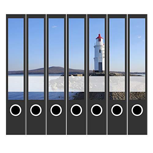 7 x Akten-Ordner Etiketten/Design Aufkleber/Rücken Sticker/Leuchtturm am Meer/für schmale Ordner/Ordnerrücken selbstklebend / 3,7 cm schmal, dünn