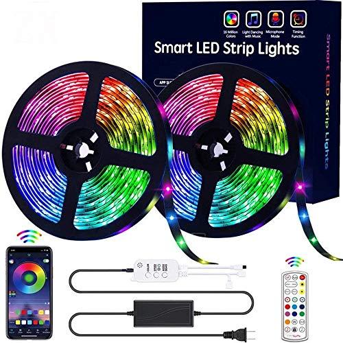 Schlafzimmer LED Lichtleiste Bluetooth LED Musik Lampe mit Set IP65 Wasserdicht 5050/RGB 32.8FT 300 Lampe Perlen LED mit Fernbedienung Lampe
