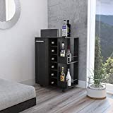 TUHOME Mobile Bar Cart, Service Cart W/ 6 Bottle Rack 2 Open Shelves and 1 Cabinet W/ 2 Shelves and a Spacious Top Surface