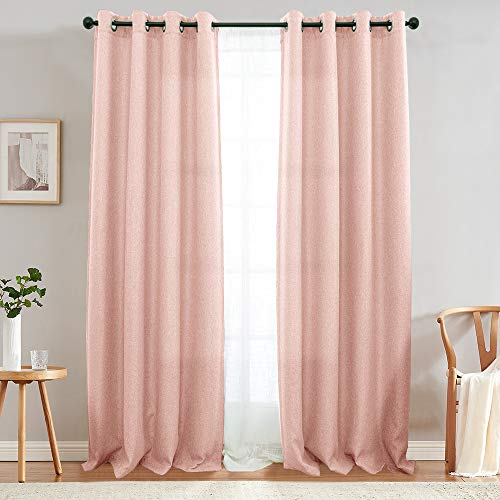 jinchan Pink Curtains for Living Room Darkening Grommet Curtain Panels Blackout Drapes for Bedroom, 2 Panels (90', Pink Red)