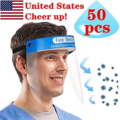 50 Pcs/Pack Face Protection Shield 270 Degree Full Face Protection Anti Fog Anti Saliva Face Shields FDA Approved Face Shield Medical.