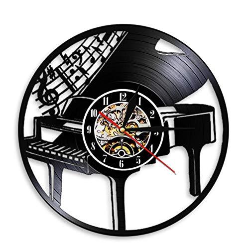 wangzhongjie Strumento Musicale Pianoforte Orologio da Parete Note Musicali Melodia Pianoforte a Coda Spartiti Disco in Vinile Orologio da Parete Pianista Musicisti Regalo