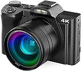 Videocamera, Rokurokuroku 4K Videocámara UHD 48MP Wi-Fi Vlogging Cámara de Vídeo Youtube con Lente Gran, 3.5' IPS Touchscreen 16X Zoom Digital Webcámara, 2 Baterías