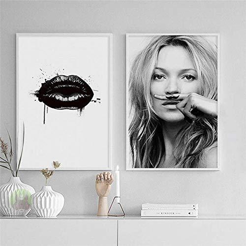 hdbklhjxk Europäischen Zeichen Supermodel Kate Moss Lippenstift leinwand malerei Wand Poster Wohnzimmer Dekoration malerei wohnkultur Unframed-40x50cm_No_Frame_2pcs