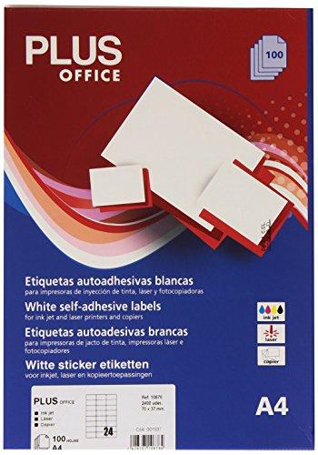 Plus Office 10676 rechthoekige kleefetiketten, 2400 etiketten per doos, 70 x 37 mm, wit