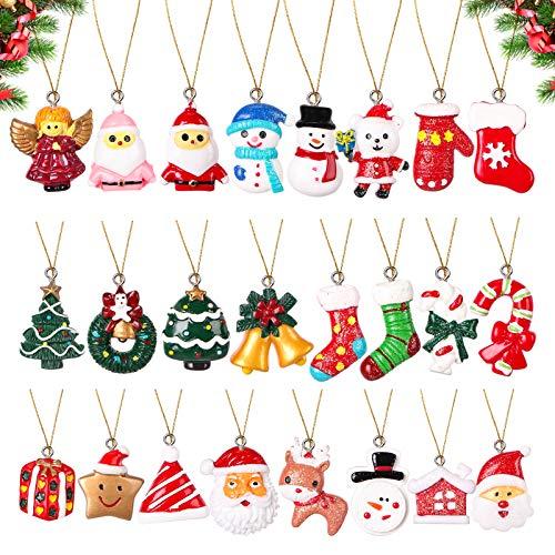 24pcs Mini Christmas Ornaments Set - Petite Ornaments for Christmas Tree Decorations - Holiday Party Decor