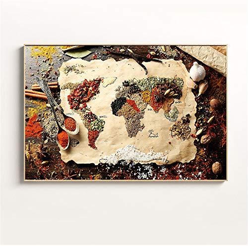 zgmtj Lebensmittel Malerei Weizenbrot Kaffee Wandkunst Bild Küche Dekor Nordic Poster und Drucke Geschirr Wandmalerei Leinwandbilder