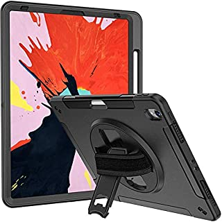 Moona iPad Pro 12.9 Case 2018 2019 Support Apple Pencil Charging Hybrid Full Body 3 Layer Armor Protective Shockproof iPad 12.9 Cover with Hand Grip and Rotating Kickstand for iPad 3rd Gen (Black)