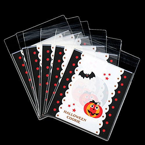 WeiMay 100PCS Halloween Kekse Taschen Selbstklebende Nette Fledermaus und Kürbis Muster Süßigkeiten, Geschenk Kunststoff Paket Weiß