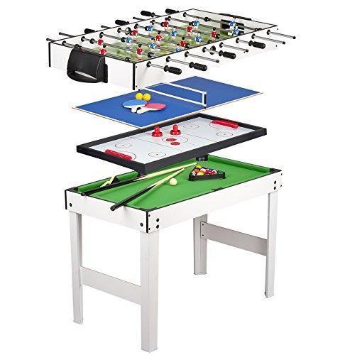 Leomark Multigame Holz Spieltisch - weiße Farbe - Tischfußball, Billard, Hockey, Tischtennis, 4in1 Multifunktionstisch Multiplayer Inkl. komplettem Zubehör, Ab 8 Jahre