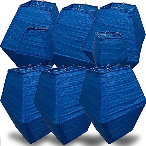 AMENOPH1S™ Neues Design Lampion (Blau) | [8er Set] hochwertige, umweltfreundliche Papier Laterne | Handmade Lampenschirm Deko für Garten Party | Hochzeit Dekoration | Geburtstage | 4 Größen