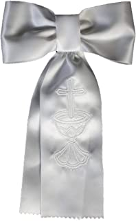 Lito Boys White Embroidered Cross Chalice First Communion Arm Band