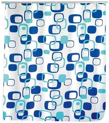 WENKO 19179100 Duschvorhang Geometrix - Anti-Bakteriell, waschbar, mit 12 Duschvorhangringen, Kunststoff - Polyester, Weiß