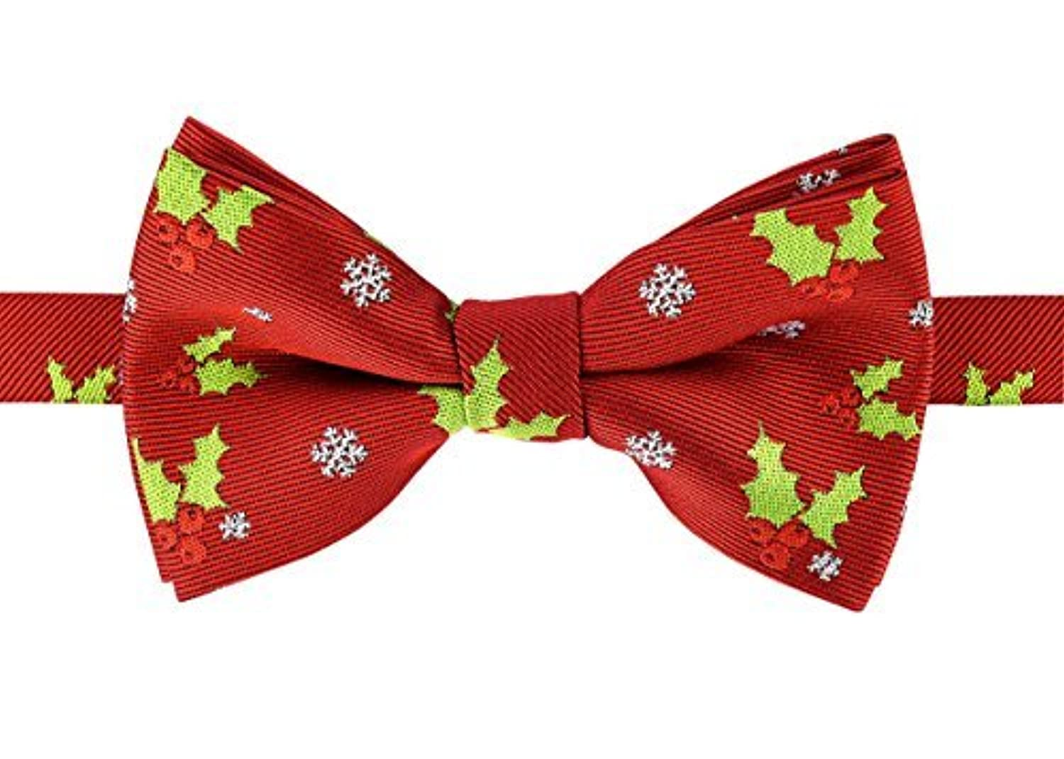 Retreez Christmas Holly Leaves and Berries Woven pre-tied男の子の蝶ネクタイ