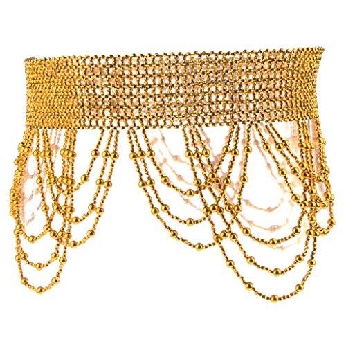 F Fityle Cintura Vita Danza Ventre Con Nappe Perline Metalliche Per Reggiseno Pantaloni Gonne - Dorato, 70-120cm
