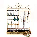 Jewelry Organizer 3 Tier Jewelry Decorative Display Stand with Chantilly Lace trimmed Tray for Necklaces, Bracelets, Earrings & Rings, Gold