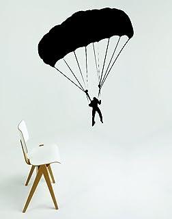 ملصق حائط مصنوع من الفينيل RAD 540 1 Parasail Parachute Jumping Man Sky Diving من الفينيل، أسود، 30.48 سم × 45.72 سم