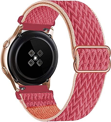 LLKHFA 20 mm 22 mm Banda de Nylon para Samsung Galaxy Watch 3 45mm 41mm Active 2 Gear S3 Pulsera Ajustable Huawei Watch GT 2 42mm 46mm Correa (Band Color : Pomegranate, Band Width : Gear Sport)
