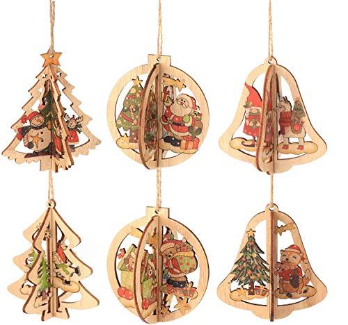 Decorazioni Albero in Legno di Natale Addobbi in Legno Pendente Ornamenti di Albero 3D Fai da Te Ciondoli Legno Decorato Babbo Natale e Snowman, 6 Pezzi