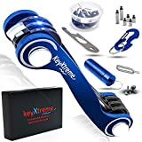 Smart Key Organizer up to 42 standard keys | Compact Key Holder with Round Edges & Improved Anti-Loosening System | Smart Keychain with cash stash + more accessories (Blue)