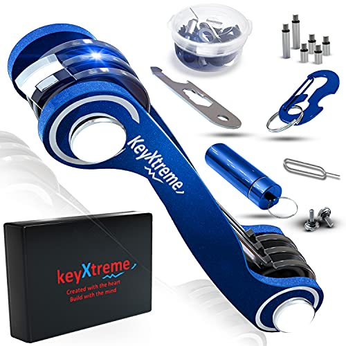 Smart Key Organizer up to 42 standard keys   Compact Key Holder with Round Edges & Improved Anti-Loosening System   Smart Keychain with cash stash + more accessories (Blue)