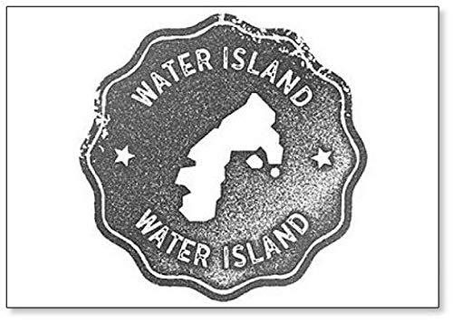 Water Island Grijs Vintage Stempel met Eiland Kaart Silhouette Illustratie Koelkast Magneet