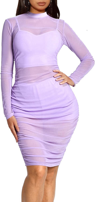 Sprifloral Women Long Sleeve Bodycon Dress - Sexy See Through Sh