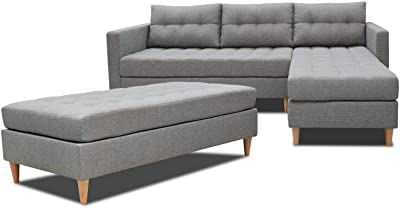 Selsey KOPENHAGEN Canapé d'Angle, Mousse de polyuréthane, Gris, 220 x 150 x 88