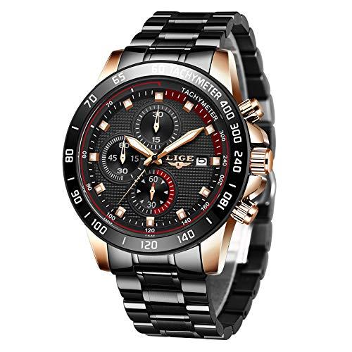 LIGE Reloj para Hombre Cronógrafo Correa de Acero Inoxidable Impermeable Deportes Negocios Casual Caballero Reloj Negro