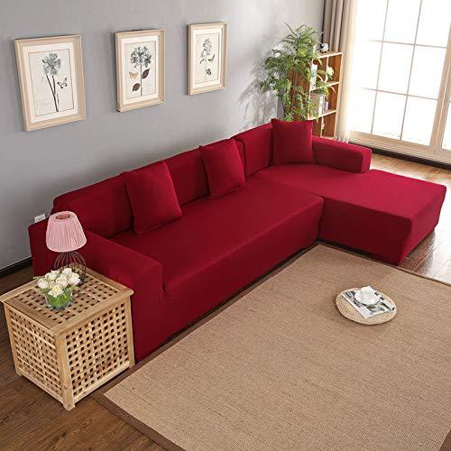 Dioche Funda elástica para sofá esquinero en forma de L con funda elástica para sofá con chaise longue izquierda/derecha, 3 + 2 plazas, funda de sofá elástica con península (rojo vino)