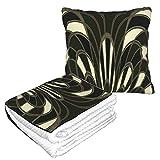 Manta de almohada de terciopelo suave 2 en 1 con bolsa suave de seta abstracta Art Deco funda de almohada para casa, avión, coche, viajes, películas