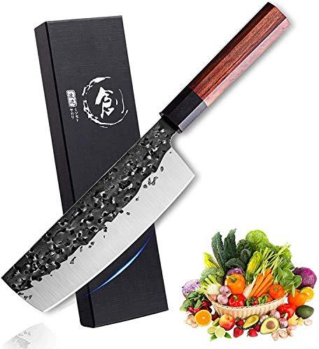 Freelander Kochmesser Nakiri Messer ultrascharfes Kochmesser 7 Zoll Handgeschmiedete professionelles Küchenmesser aus kohlenstoffreichem Stahl Mehrzweck Gemüse Hackbeil für zu Hause und Restaurant