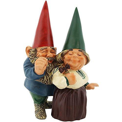 Sunnydaze Garden Gnome Couple Arnold and Sarah, Outdoor Lawn Statue, 8 Inch Tall