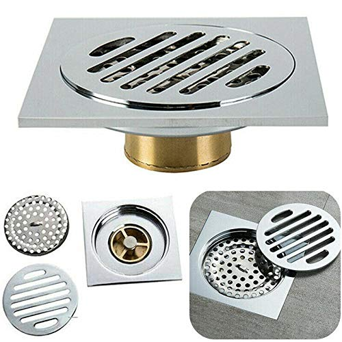 Shower Drain Cover 304 Stainless Steel Shower Floor Drain,Cover Waste Gate, Square Anti-Odor Drainage Large Caliber grates for Kitchen Take a Shower Restroom and Bathtub