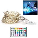 Cadena de luz, Cadena de luz LED, 16 colores 200LEDs Cadena de luz Alambre de cobre Lámpara decorativa RGB Control remoto IR Temporización Impermeable 20m/65.6ft