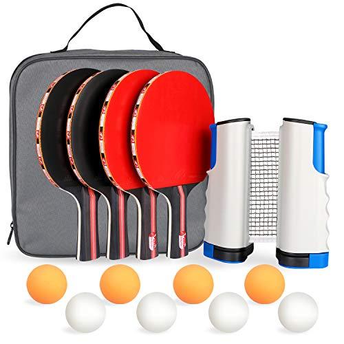 Fostoy Raquetas de Tenis de Mesa,Sets de Ping Pong 4 Raquetas + 8 Bolas + 1 Red retráctil, Conjunto de Pingpong Set Portátil para Interior al Aire Libre