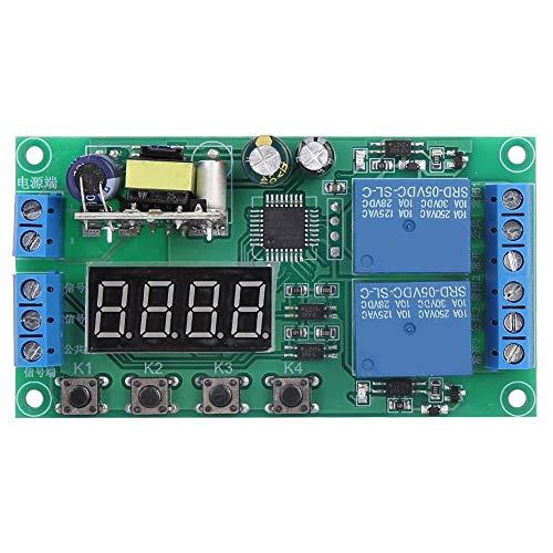 Relaismodul, Wechselstrom 220 V Zweikanal-Verzögerungsrelaismodul Multifunktionaler Impulsauslöser-Zyklus-Timer 0,01 s - 999 m für elektromagnetische Ventile Pumpen Motoren