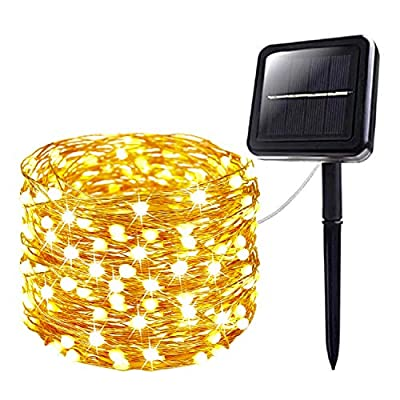 Solar String Lights, Upgraded Super Bright & Durable 120LED Solar Lights Outdoor, IP65 Waterproof Copper Wire 8 Modes Starbright Solar Lights for Ramadan Wedding Garden Yard Tree Party (Warm White)
