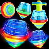 PROLOSO 12 Pack Light Up Spinning Tops Glow in The Dark Spin Toys LED Flashing Gyro Peg Tops