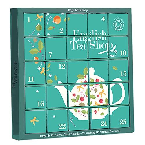 """English Tea Shop - Tee Adventskalender """"Candy Cane"""", 25 einzelne Boxen mit würzigen BIO-Tees in hochwertigen Pyramiden-Teebeuteln"""