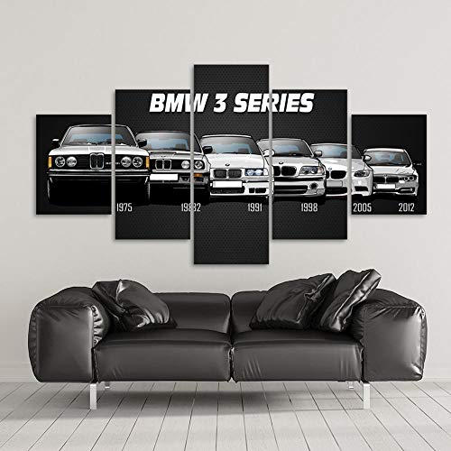 BHJIO 5 Piezas Carro Deportivo Cuadros Lienzo Modern Artwork, 150 Cm X 80 Cm. 40X30Cm X 2 Pieces, 60X30Cm X 2 Pieces, 80X30Cm X 1 Piece.