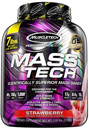 Mass Gainer Protein Powder | MuscleTech Mass-Tech Elite Mass Gainer | Whey Protein Powder + Muscle Builder | Weight Gainer | Protein Powder for Muscle Gain | Creatine Supplements | Chocolate, 7 lbs